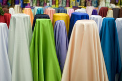 Colorful cotton fabrics on sale Royalty Free Stock Photo