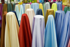 Colorful cotton fabrics on sale Stock Photography