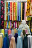 Colorful cotton fabrics on sale Royalty Free Stock Photos