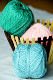 Colorful cotton yarn. The colorful cotton yarn closeup stock photo