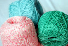 Colorful cotton yarn for crochet. Closeup of colorful cotton yarn stock images