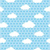 Colorful couds and hearts seamless repetitive pattern texture background vector graphic illustration.