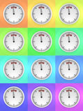 Colorful countdown to 2016. Three dimensional render of 2016 text and a clock in various colors Stock Images