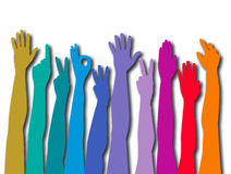 Colorful counting hands Royalty Free Stock Photos