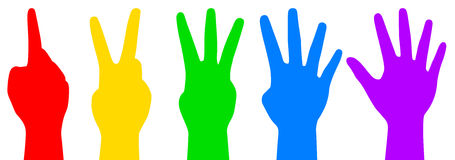 Colorful counting hands Stock Images
