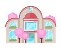 Colorful country house, family cottage, mansion recreation, real estate. Facade of residential building. Two-storey family house with high windows, beautiful royalty free illustration