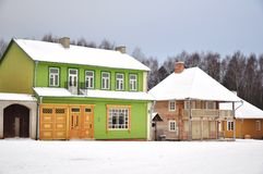 Colorful winter houses Royalty Free Stock Photo