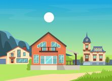 Free Colorful Country Town Houses With Roof, Suburban Cottages, Guest House, Mansion, Townhouse, House Brick, Buildings. Stock Photos - 213612933