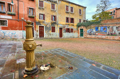 Colorful courtyard. Venice, Italy. Royalty Free Stock Image