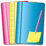 Colorful cover. Notebook and pencil Royalty Free Stock Images