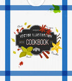 Colorful cover for cookbook, notebook with spices in flat style. Vector kitchen backdrop. Stylized icons. Royalty Free Stock Photos