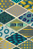 Colorful cover in patchwork style in turquoise shades with gold elements. Stock Photos