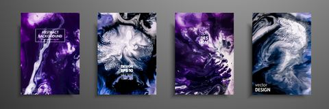 Colorful covers design set with textures. Closeup of the painting. Abstract bright hand painted background, fluid. Acrylic painting on canvas. Fragment of royalty free illustration