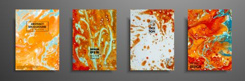 Colorful covers design set with textures. Closeup of the painting. Abstract bright hand painted background, fluid acrylic painting. On canvas. Fragment of stock illustration
