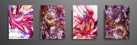 Colorful covers design set with textures. Closeup of the painting. Abstract bright hand painted background, fluid acrylic painting. On canvas. Fragment of royalty free illustration
