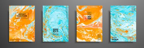 Colorful covers design set with textures. Closeup of the painting. Abstract bright hand painted background, fluid acrylic painting. On canvas. Fragment of vector illustration