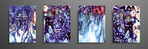 Colorful covers design set with textures. Closeup of the painting. Abstract bright hand painted background, fluid. Acrylic painting on canvas. Fragment of stock illustration