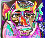 Colorful cow in pink clothes and headphones listens to music. Portrait of colorful cow in pink clothes and headphones listens to music - contemporary art digital Royalty Free Stock Image