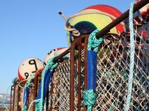 Colorful crab pots with blue sky Royalty Free Stock Photos