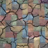 Colorful cracked bricks Stock Images