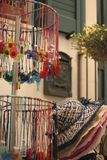 Colorful craft jewels and hats on sale, Puglia, Italy. stock photos