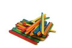 Colorful craft wooden sticks. stock photos