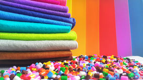 Colorful crafting material. Colorful material for crafting and hand made workshops royalty free stock photography