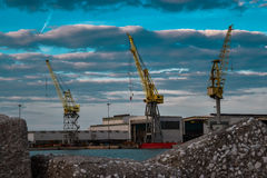 Colorful cranes in Ancona italy Stock Photography