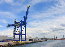 Colorful Cranes lifting at Rotterdam Dockside Stock Photography