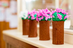 Colorful crape paper bouquet decoration in kindergarten Royalty Free Stock Photo
