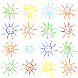 Colorful crayon chalk funny sun with smile. Colorful pastel chalk hand drawn set of happy, glad, happy, angry, sad, faces suns. Royalty Free Stock Image