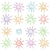 Colorful crayon chalk funny sun with smile face. Colorful pastel chalk hand drawn set of happy, glad, happy, angry, sad, faces sun Stock Images
