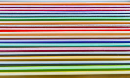 Colorful crayon pencil on the wooden floor Stock Photo
