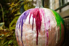 Colorful Crayon Pumpkin Decoration royalty free stock images