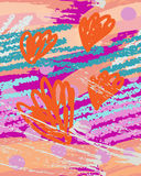 Colorful crayon scribbles with doodled flowers Stock Images