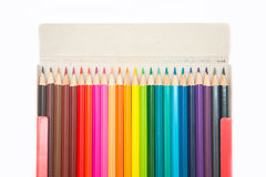 Colorful of crayon wood in paper box Royalty Free Stock Images