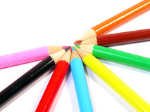 Colorful crayons. Over white background Royalty Free Stock Photos