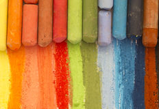 Colorful crayons, colors palette on paper Stock Photo