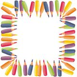 Colorful crayons border on white background Stock Photos