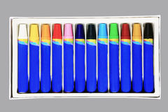 Colorful crayons in box Stock Photo