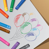 The colorful crayons, draw balloon Stock Images