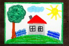 Colorful drawing: House with red roof on the hill. Colorful crayons drawing: House with red roof on the hill vector illustration