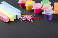 Colorful crayons and gouache Royalty Free Stock Photos
