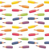 Colorful crayons in horizontal rows Stock Photo