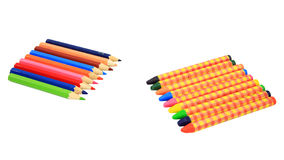 Colorful crayons and pencils isolated on white Royalty Free Stock Photo