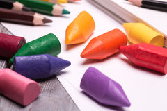Colorful crayons and pencils Royalty Free Stock Photography