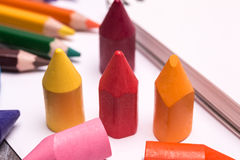 Colorful crayons and pencils Stock Image