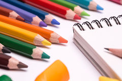 Colorful crayons and pencils Stock Photo