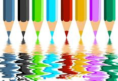 Colorful Crayons Reflection Royalty Free Stock Photo