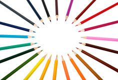 Colorful crayons in round shape Royalty Free Stock Photo